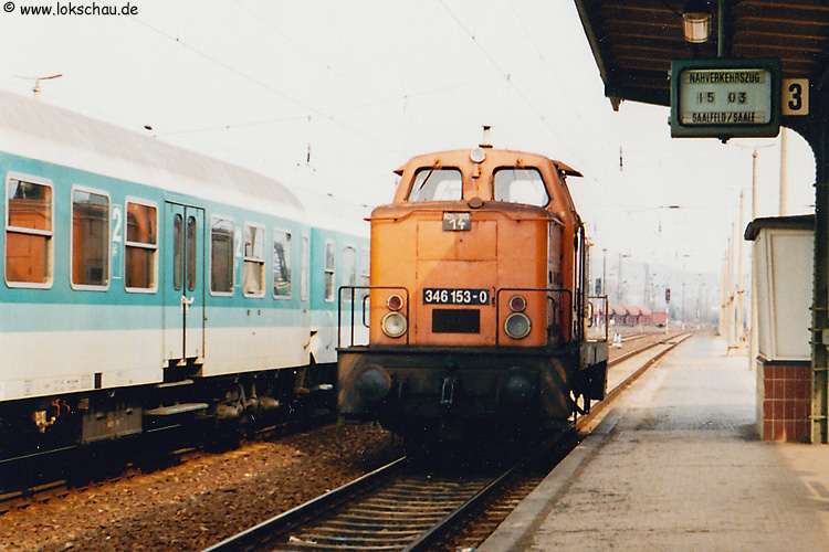DB 346 153-0 am 12.03.1993 in Naumburg Hbf. (Foto: Frank Weimer)