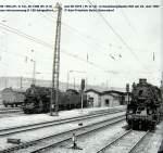 01-naumburg-saale-hbf/27579/dr-58-1564--38-1308 DR 58 1564 + 38 1308 + 58 1876 mit Blick auf Bahnsteig 3, in Naumburg (Saale) Hbf; 23.06.1967 (Foto: Karl-Friedrich Seitz)