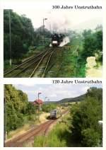 06-laucha-unstrut/33490/120-jahre-unstrutbahn---heute-feiert 120 Jahre Unstrutbahn - Heute feiert 'unsere' Eisenbahn Geburtstag. Das obere Bild zeigt einen Sonderzug zum 100. Geburtstag am 01.10.1989. Das untere Bild zeigt den Zugverkehr der heutigen Zeit, einen VT 672 der Burgenlandbahn). Beide Bilder wurden vom Stellwerk Lw in Laucha aufgenommen. (Fotomontage: Klaus Pollmächer)