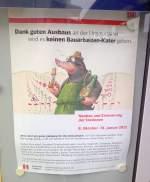 schilder/166913/infoplakat-am-naumburger-hauptbahnhof-dass-ueber Infoplakat am Naumburger Hauptbahnhof, dass über die Sanierungsarbeiten und der Streckensperrung an der Unstrutbahn mit dem von der Bahn entworfenen 'Max Maulwurf' informiert; 05.11.2011