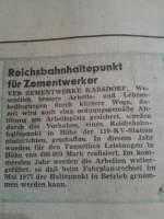 dokumente/185015/ein-artikel-aus-der-freiheit-vom Ein Artikel aus der 'Freiheit' vom 16.11.1976 über den Bau des Haltepunkts am Zementwerk Karsdorf. (Foto: Maik Richter)
