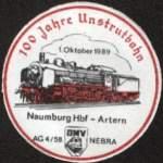 sonstiges/166263/anstecker-zum-100-geburtstag-der-unstrutbahn Anstecker zum 100. Geburtstag der Unstrutbahn vom 01.10.1989. (Sammlung: Mario Fliege)